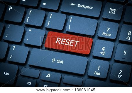Laptop Keyboard. The Focus On The Reset Key.