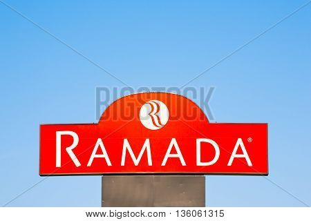 BURNSIDE CANADA - JUNE 26 2016: Ramada is a major hotel chain which operates on a worldwide basis. Ramada is operated and owned by Wyndham Worldwide.