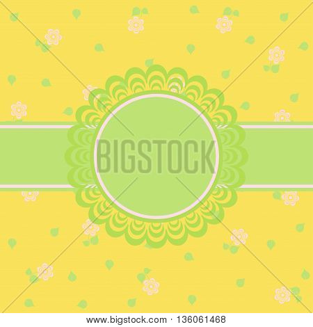 Vector floral background Greeting yellow card. Vector