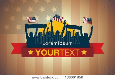 People waving American national flags and gambol in silhouette style on red ribbon for logo about sport fan and celebration and party or other.
