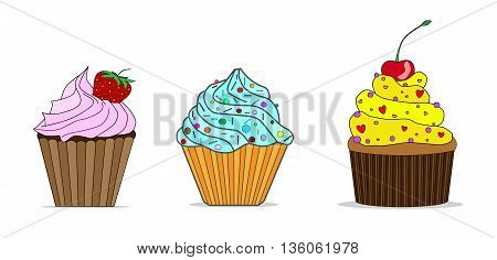 Little delicious cupcakes vector set  dessert, snack