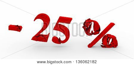 Red twenty five percent off. Discount 25%. 3D illustration.