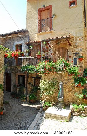 A picturesque corner of the village in the Abruzzi mountains of Assergi - Abruzzi - Italy