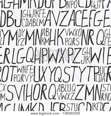 Alphabet background, hand drawn style. Seamless background
