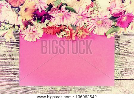 Vintage Postcard Paper Sheet And Flowers