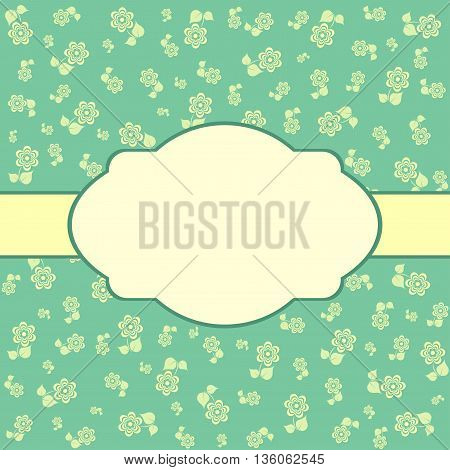 Vintage vector background with flower. Green floral card.