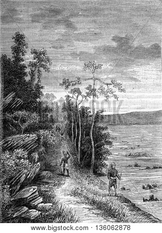 The Congo stations. The Passage of Valencia. From Travel Diaries, vintage engraving, 1884-85.