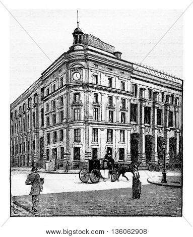 Entrance of the Hotel des Postes in Chartres, Paris, France. Vintage engraving.
