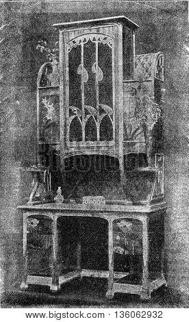 Modern-Style Shelf, vintage engraved illustration. Industrial encyclopedia E.-O. Lami - 1875.