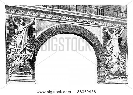 Classic style stone allegorical sculptures on the arch corners of the Pont du Carrousel bridge in Paris, France. Vintage engraving.