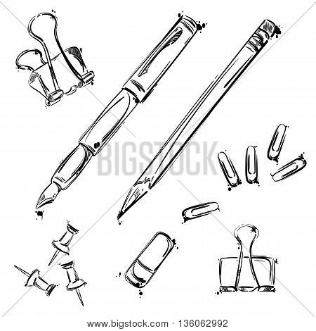 Vector set of working tools: pen pencil eraser paper clip button. Office table. Business. Isolate on white background.