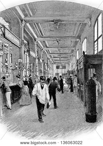 Lobby of the Hotel des Postes in Chartres, Paris, France. Vintage engraving.
