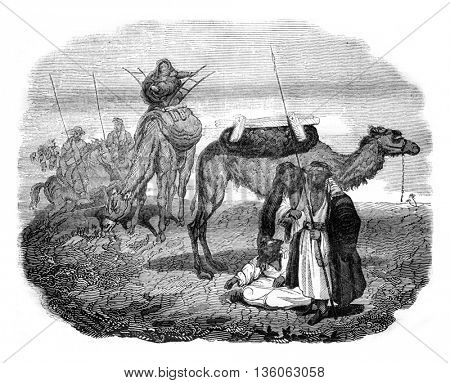 Arab Bedouins, after an engraving of the trip Mr. Leon Delaborde, vintage engraved illustration. Magasin Pittoresque 1836.
