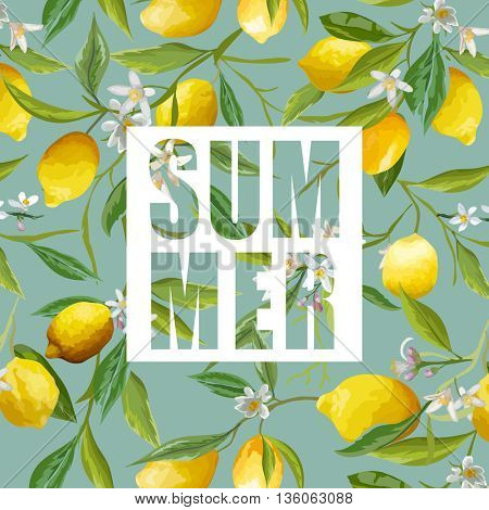 Lemon, Flowers and Leaves. Vector Background. Exotic Graphic Background. Tropical Banner.