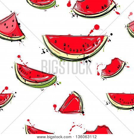 Vector abstract seamless pattern with slices of watermelon. Vegan. Juicy fruit. Summer bright illustration.