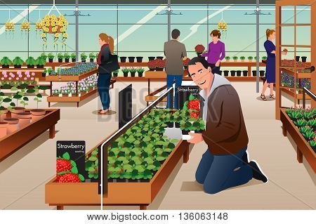 A vector illustration of man buying strawberry plant in a gardening centre