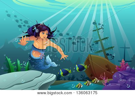 A vector illustration of underwater scene with mermaid and sink ship