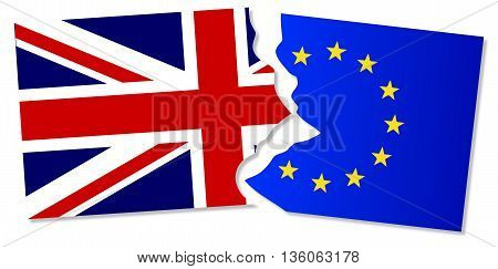 Flag of the European Union and Great Britain torn apart