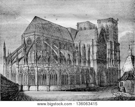 Notre Dame de Paris, vintage engraved illustration. Magasin Pittoresque 1836.