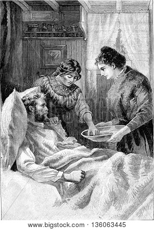 The sisters of charity were always dedicated in their caring of the sick. From Jules Verne Cesar Cascabel, vintage engraving, 1890.