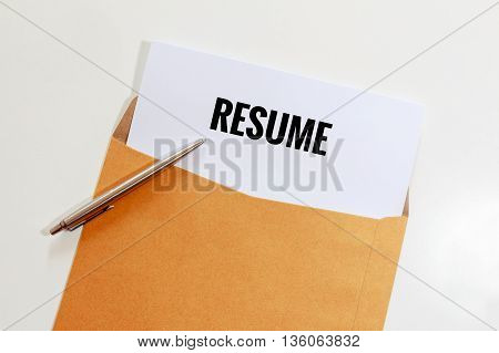 Resume in envelope with pen on table - business concept.