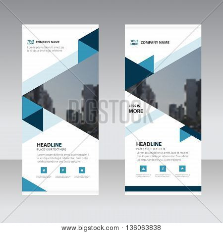 Blue triange Business Roll Up Banner flat design template Abstract Geometric banner template Vector illustration set abstract presentation template