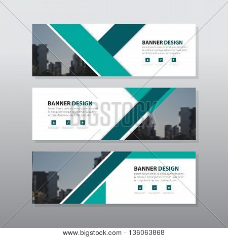 Green triangle abstract corporate business banner template horizontal advertising business banner layout template flat design set clean abstract cover header background for website design