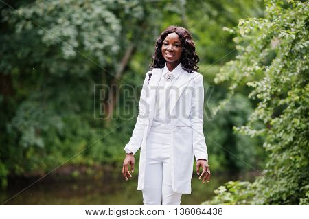 Stylish Black African American Girl Posing On Park Background River