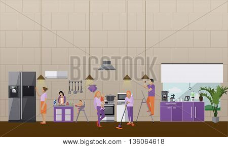 Cleaning service concept vector banner. People cleaning house. Apartment kitchen interior. Housekeeping company team at work.