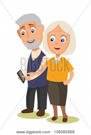 Grandmother and grandfather holding phone. Vector flat color illustration isolated on background.