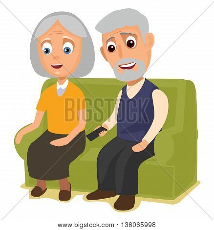Grandmother and grandfather sitting together on a sofa. Vector flat color illustration isolated on background.