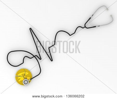The crisis of the UK economy. Cracked coin with the symbol of the pound sterling and the phonendoscope. Financial concept. Isolated. 3D Illustration