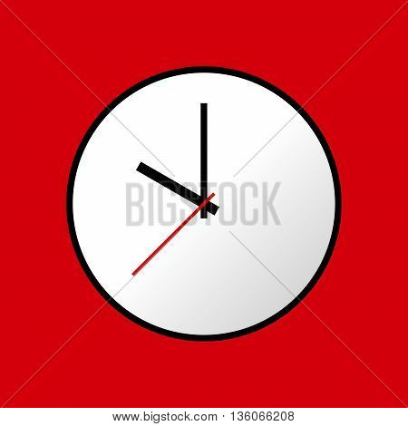 Clock icon, Vector illustration, flat design. Easy to use and edit. EPS10. Red background.