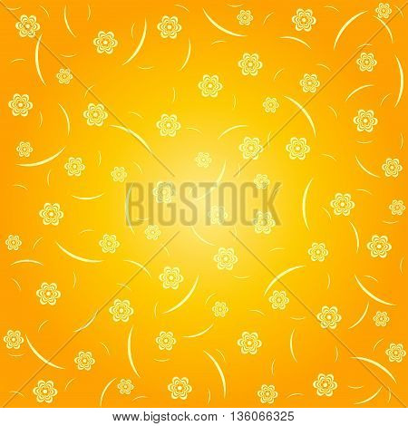 Wallpaper with flowers. Floral vector background in orange tones