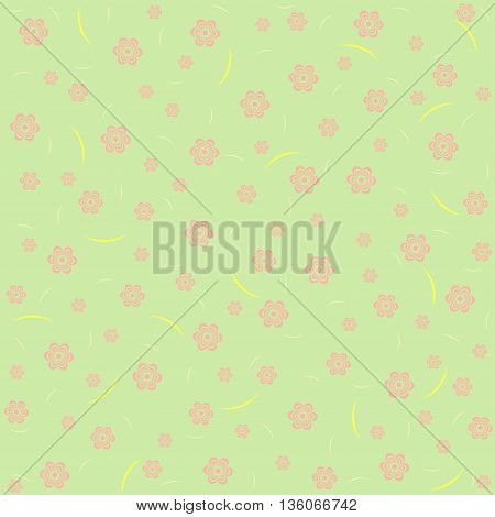 Green flower pattern. Vector elegant floral illustration