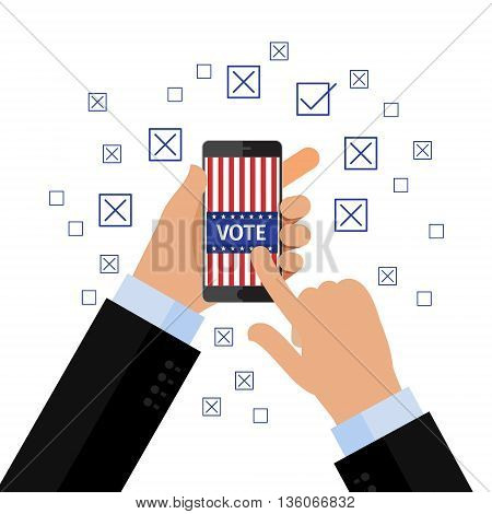 Concept of election. Vote concept. Hand holding smartphone with voting app on the screen. Flat design, vector illustration.