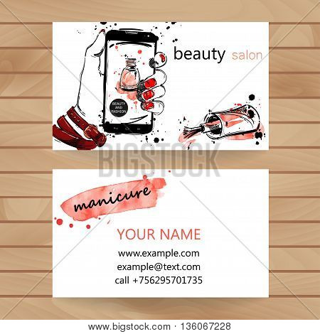 Vector watercolor illustration. Business card. Beauty saloon. Fashion.