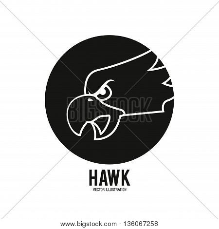 Animal  concept represented by Haluk icon over circle. black and white graphic. Isolated and flat illustration