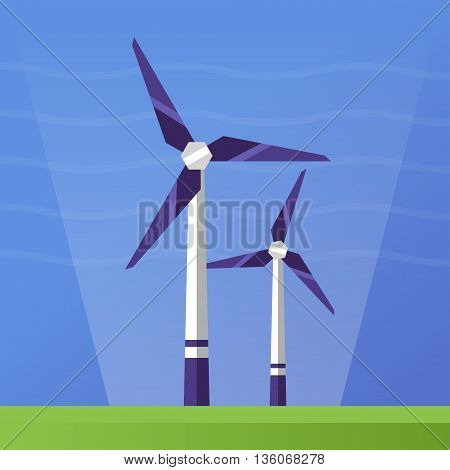 Wind Power single isolated modern vector flat design icon with wind turbines