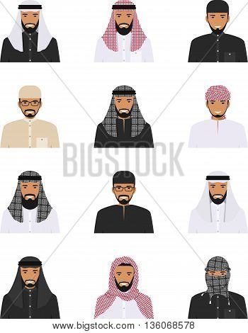 Detailed illustration of different arab men avatars icons set in the traditional national muslim arabic clothing isolated on white background in flat style.