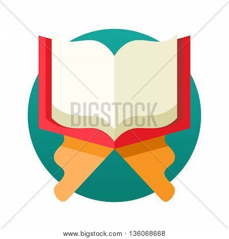 Islamic Holy Book Quran single isolated modern vector flat design icon with open book