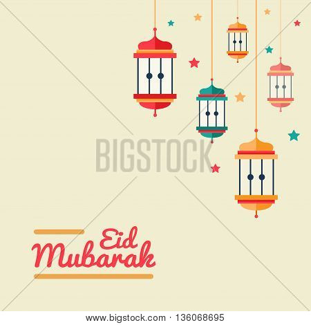 Modern vector flat design postcard with islamic lanterns, traditional greeting Eid Mubarak