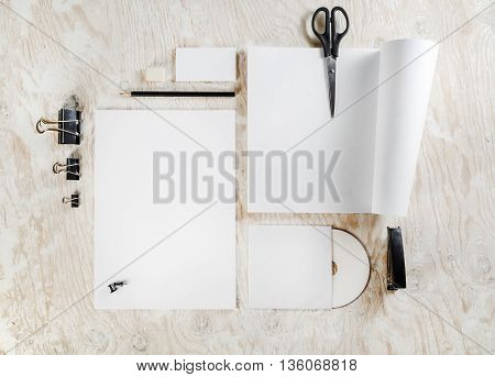 Blank stationery set on wooden table background. Blank ID template. Mockup for branding identity for designers. Mock-up for your design.
