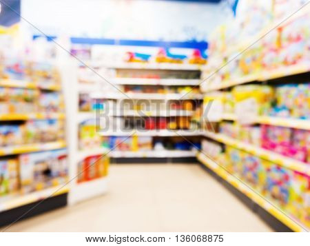 Blurred of kids toy store background with bokhe