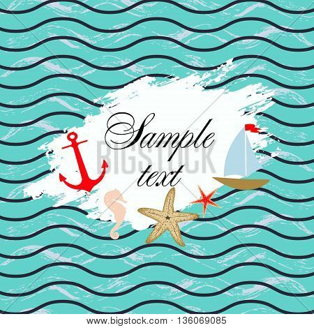 Marine background. Template , design Waves anchor starfish ship
