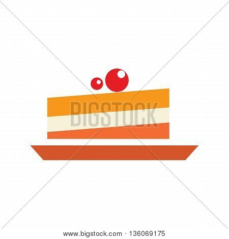 Berry cake simple illustration. Dessert icon, closeup sweet pie. Flat icolated object on white background