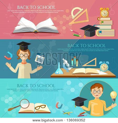 Back to school banners education students learn school tools vector illustration