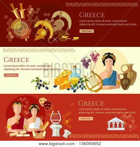 Ancient Greece banner tradition and culture ancient history greek helmet people greece vector illustration