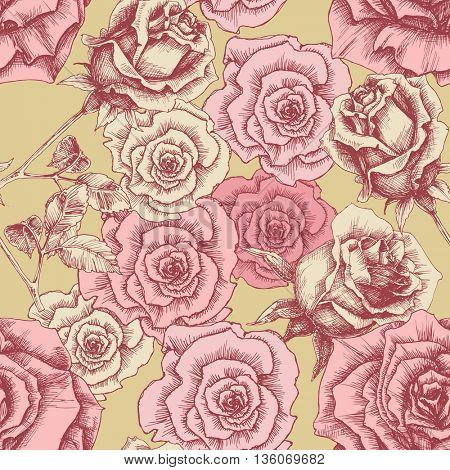 Vintage pink roses pattern. Floral print
