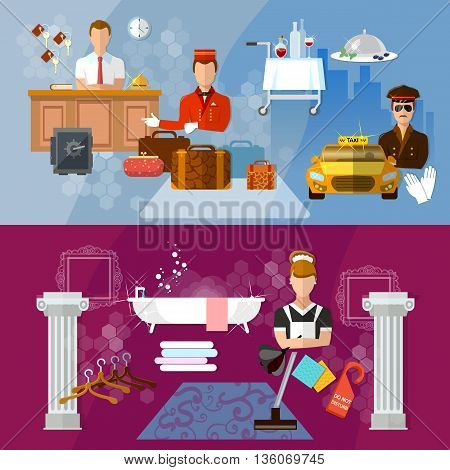 Hotel service banners hotel staff reservation motel vector illustration